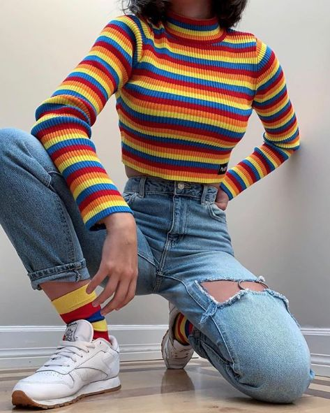 Rainbow Ribbed Top  Rainbow Striped Knit Top Turtle Neck Long Sleeve Crop Top Av…