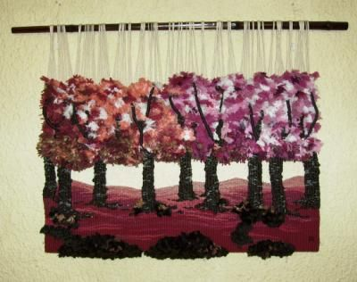 bosque encantado tapiz lana,algodon,yute alto lizo