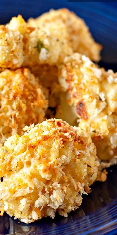 Baked Garlic Parmesan Cauliflower Bites - crunchy and crispy on the outside, moist and tender inside. Serve with your choice of sauces.