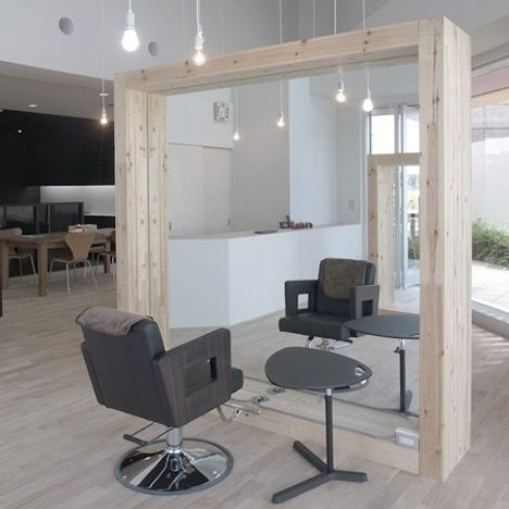 salon salon beauty: Hair Salons, Salons Salons, Big Mirror, Kashiwa Hairdresser, Salons Ideas, Salons Beautiful, Frames Mirror, Small Spaces, Full Length Mirror