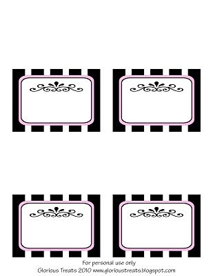 French Party Labels Free printable of tag with striped background topped with a French scroll design.                                                                                                                                                                                 Mais