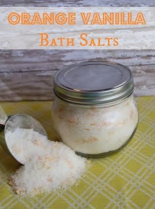 """Orange Vanilla Bath Salts - This is an amazing smelling bath salt! Skip the mall stores where you will pay $10 or more for a bottle of bath salts and make your own customized version at home for just over $1. Make a big jar and schedule yourself a regular """"spa treatment"""" in your own tub."""