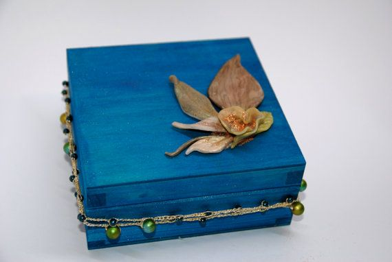 wooden turquoise blue suitcase jewelry box unique by VictoriaArtPL