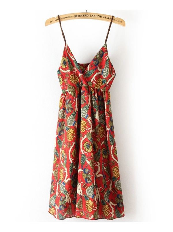 red spaghetti strap sleeveless floral print chiffon dress -