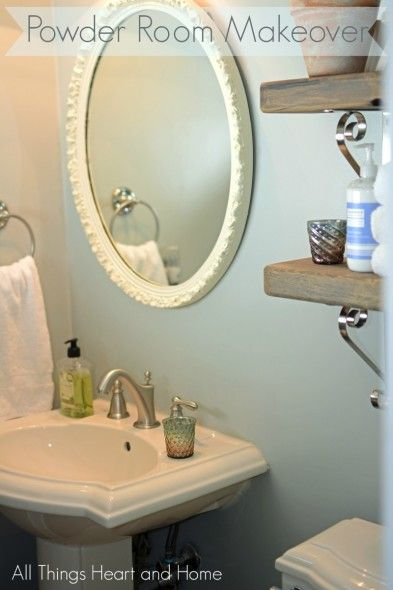 Web Image Gallery Powder Room Makeover We MOVED the door and added rustic shelving