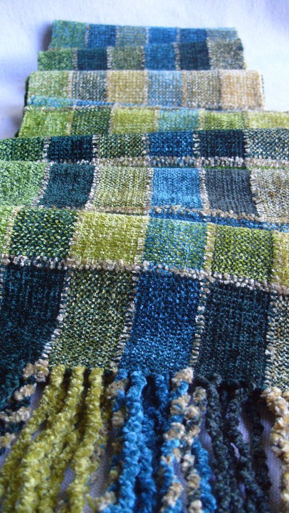 Handwoven Chenille Scarf Soft Greens Stained by barefootweaver
