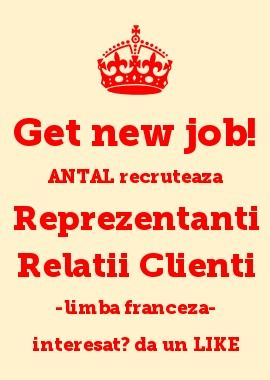 ANTAL International Network Romania - Iasi Office recruteaza #Agenti #Servicii #Clienti -limba franceza, in #Bacau #Romania; dati un LIKE ! si trimiteti CV: officeiasi@antal.com