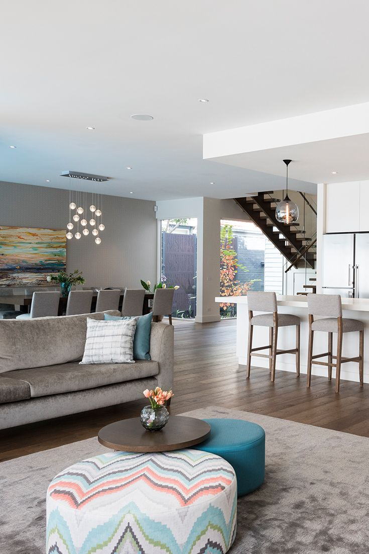 Open plan living space designed and styled by Emme Designs.