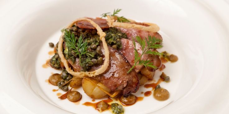 James Durrant brings a touch of class to this humble cut of meat, pairing calf's livers with sage salsa verde and crispy onion rings