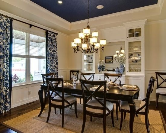 Dining room with navy ceiling redecor project pinterest for Navy blue dining room ideas