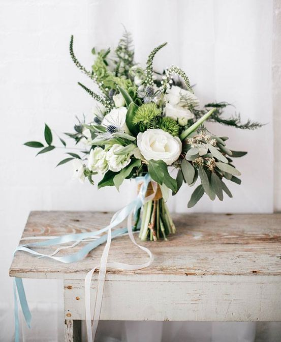 Beautiful white and green bridal bouquet