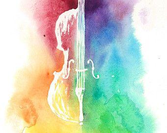 Arco iris de colores silueta acuarela violín instrumento
