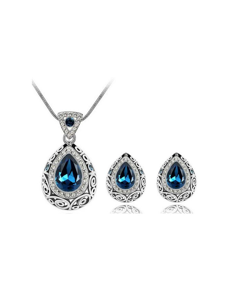 Charm Austrian Crystal Earrings Necklace Jewelry Set, As Shown 1, SUNDREY | VIPme