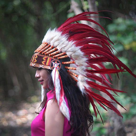 Indiaanse hoofdtooi rode veren hoofdtooi Indiaanse
