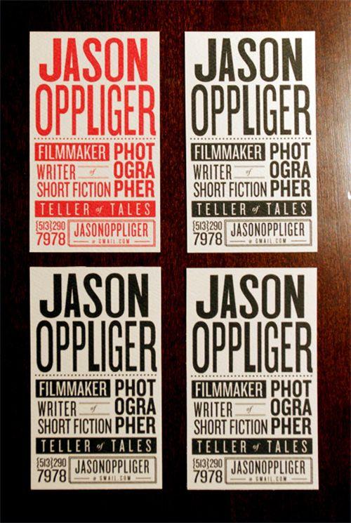 Creative business card for Mr. Jason Oppliger
