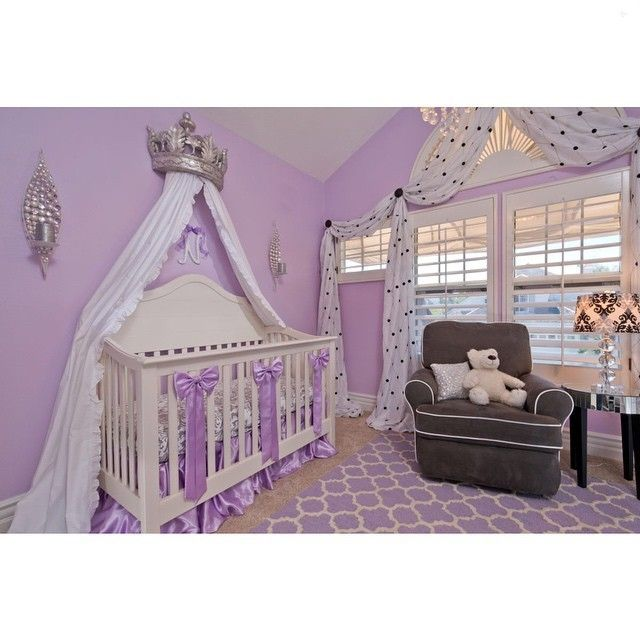 The Lavender and damask nursery was designed through @rockabyemommy's e-design service! The concept, floor plan, elevations and shopping list were all designed by Stephanie Avila and a PDF packet was emailed to the client to implement on clients own. A great service for anyone outside of Southern California and an ultra affordable alternative to traditional design services. Crown Canopy from RH Baby & Child.Crib sheet from Carousel Designs.Area Rug from Wayfair.Drapery fabric from Kravet…