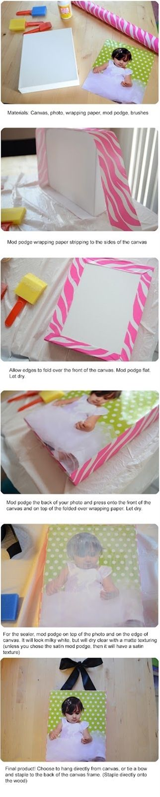 Customize your own canvas photo using wrapping paper *creative!* - Click image to find more DIY & Crafts Pinterest pins