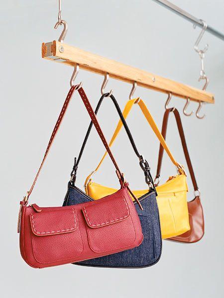 Purses hanging on rack organization pinterest purses - Handbag hanger for closet ...