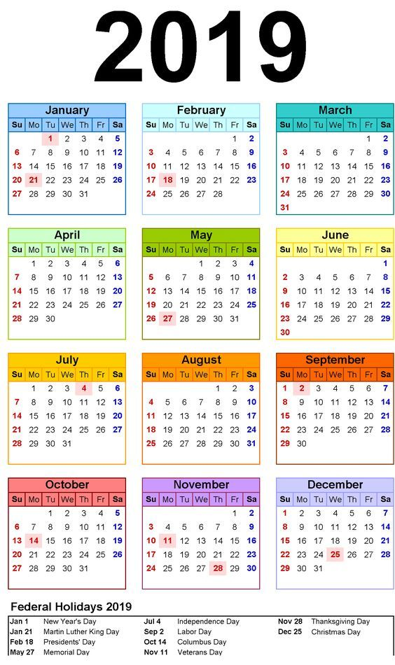 photo regarding Free Printable Monthly Calendar With Holidays titled No cost Printable 2019 Month-to-month Calendar with Vacations 2019
