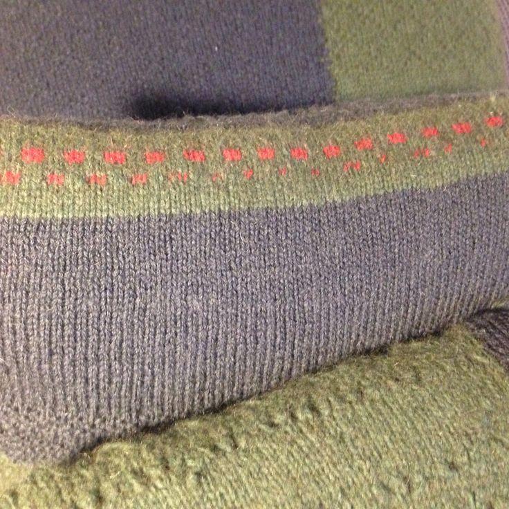 Hand Knitted possum merino wool detail on cushion cover throw pillow