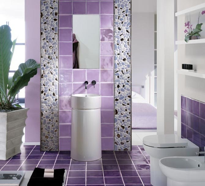 Contemporary Violet Theme For Interior : Violet Color Inspiration For  Interior; Combination Between Bathroom Violet Tiles With Rock Wall  Decoration
