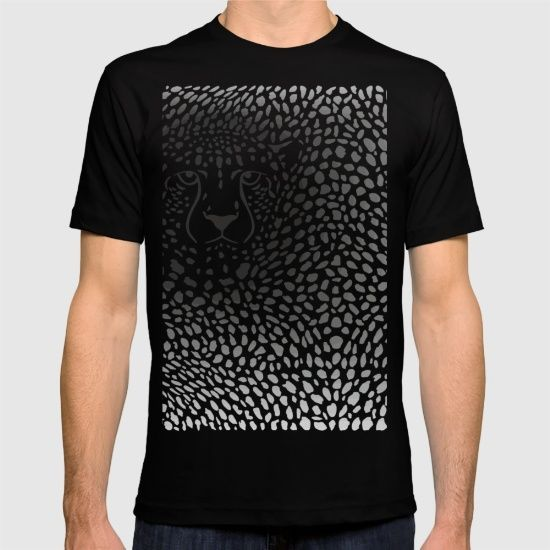 Background cheetah skins and head T-shirt