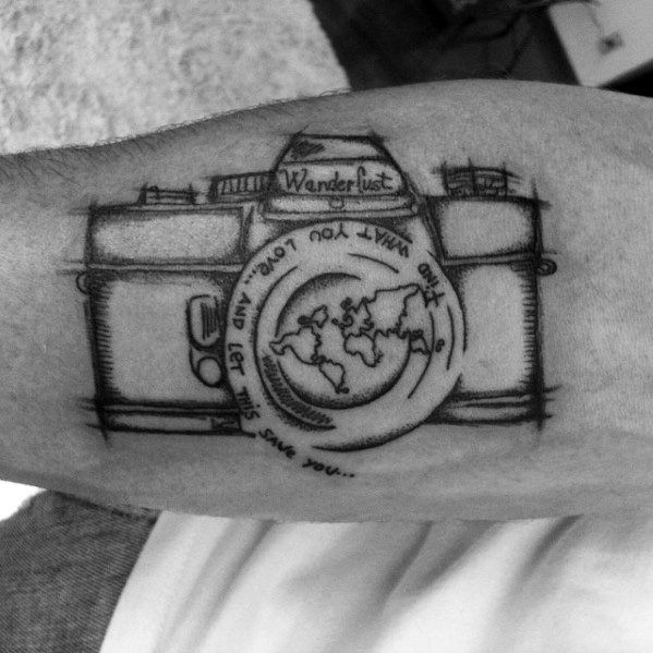Mens Inner Forearm Wanderlust Sketched Camera Tattoo Designs