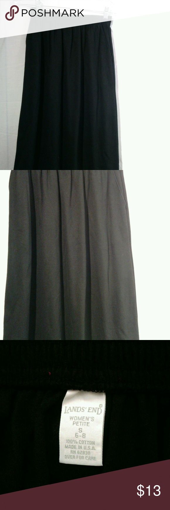 "Lands End Womens Black  Skirt Size Small Lands End Womens Black  Skirt Size Small Petite  made USA 100% Cotton  Waist: 22""  Length: 27"" Lands End Skirts Midi"