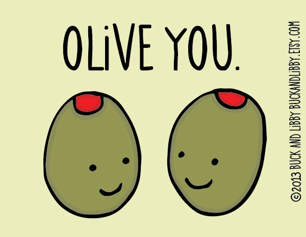 Valentine's Day Card Olive You Pun Card with Envelope Blank inside. $4.00, via Etsy.