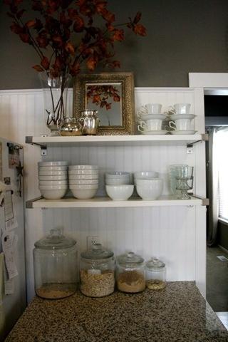 open shelving in the kitchen ikea