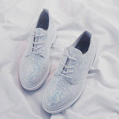 glitter flat boots sequin sparklw shoes