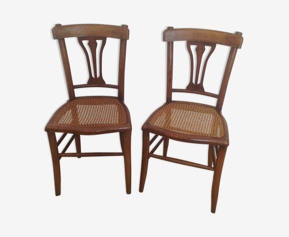 Paire De Chaises En Bois Assise Canne