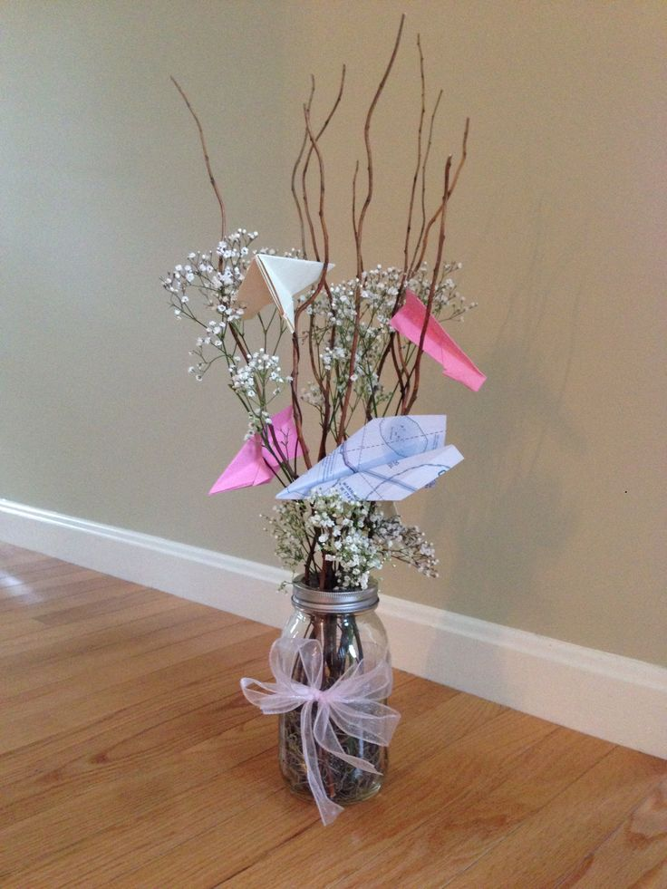 Centerpieces For Baby Shower Diy Airplane Theme Baby Girl