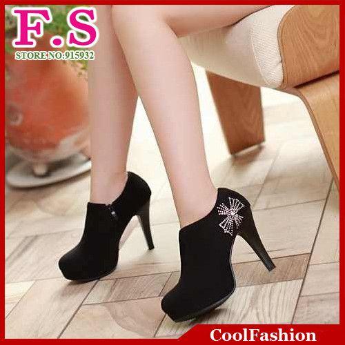 Женская мода тонкие высокие каблуки ботильоны сексуальные зимние свадебные туфли женские круглым носком платформы Zip горный хрусталь загрузки