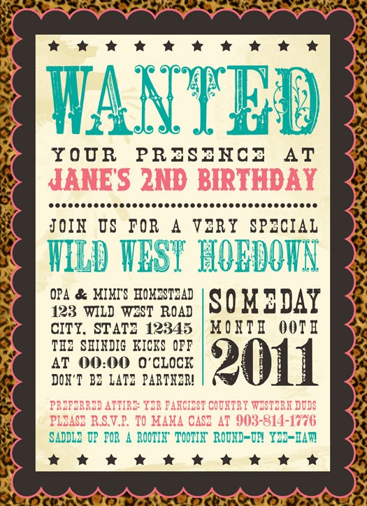 Western Wanted Cowgirl- Printable Birthday Invitations (Digital File). $15.00, via Etsy.