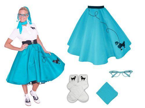 Hip Hop 50s Shop Adult 4 Piece Poodle Skirt Costume Set