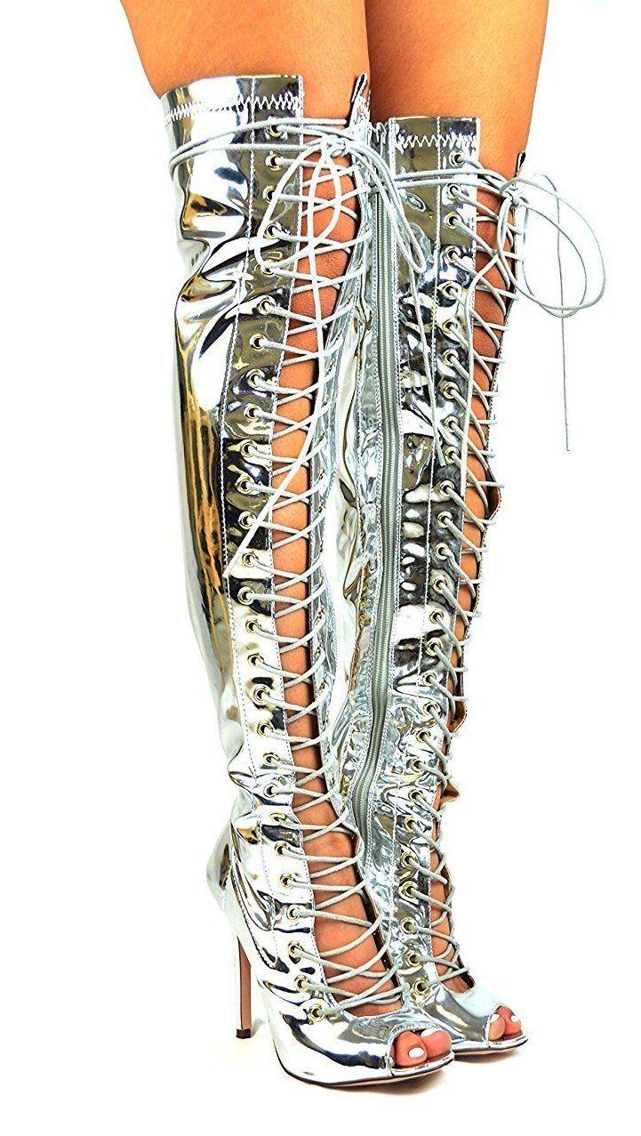 b7ba0116a56 Sexy Silver Lace Up Peep Toe Thigh High Heel Boots Metallic