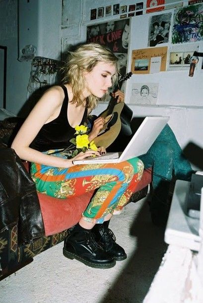 indie retro vintage grunge pop punk 90s style 80s style pattern harlem skinny skinny pants colorful colour block colorful vegan shoes faux vegetarian printed pants DrMartens