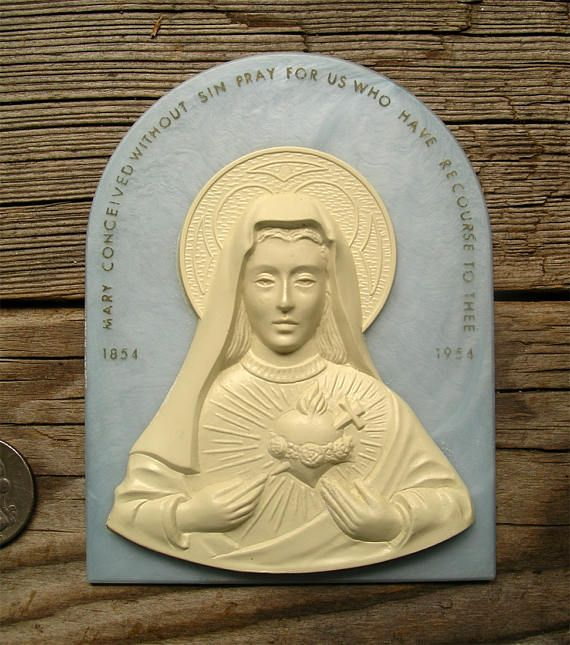 Vintage Immaculate Heart of Virgin Mary  First Marian Year