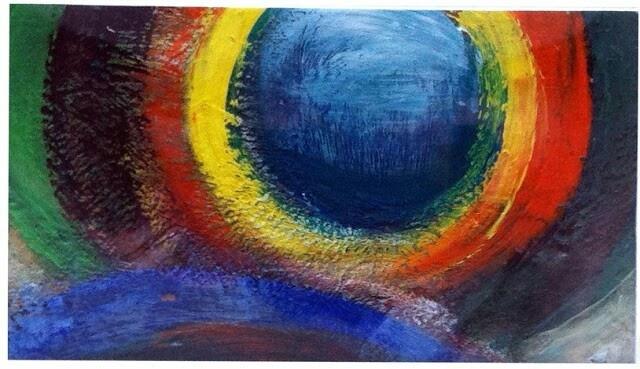 """""""Shapes:Cyrcle"""" acrylic on canvas, 10x15cm. Artist:Iliana Gkini (agilecolor)"""