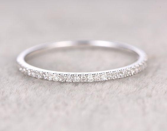 Thin designDiamond Wedding RingSolid 14K White by popRing on Etsy