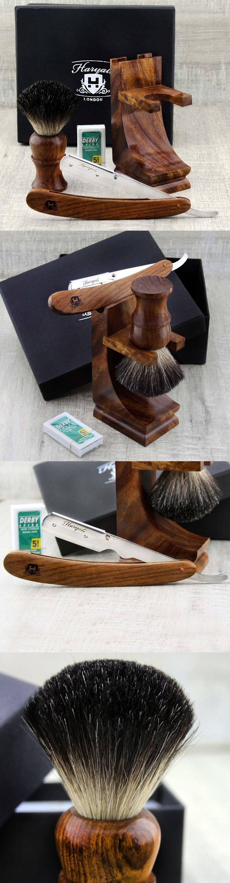 Shaving and Grooming Kits and Sets: Class Wooden Shaving Set For Mens With Black Badger Hair Brush And Shavatte Razor BUY IT NOW ONLY: $44.98