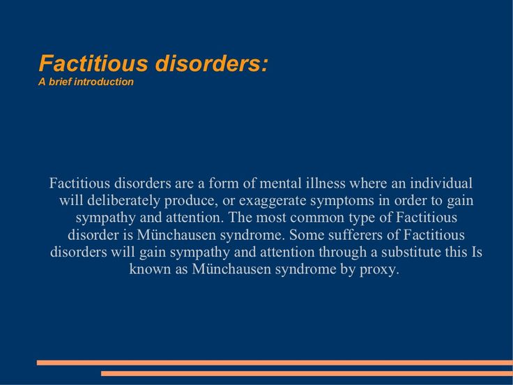 Factitious disorders presentation by Journamed via slideshare