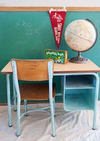 School Desk and Chair Makeover- vintage school desk - from boring to bright. Aqua school desk, globe, chalkboard, pennant