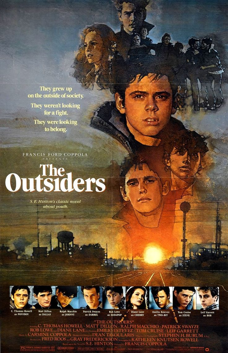 The Outsiders Movie Poster Loved this movie, and also read the book when I was in high school!