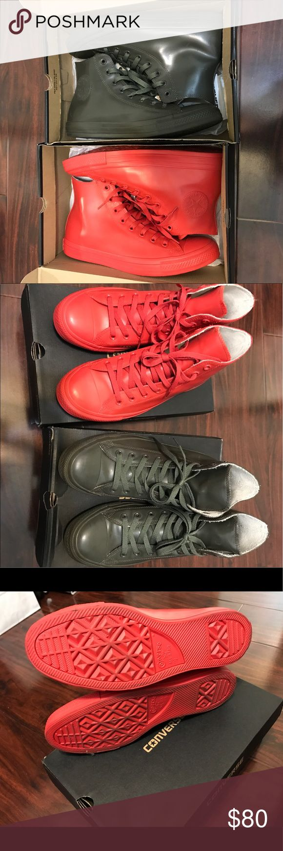 TAKE TWO! Men's Converse Waterproof Hightop-9.5US Men's Like New - Worn Once Converse Waterproof Hightop. Size 9.5 both. Red and Olive Green. Complete with box. My loss is your gain. Bored of this already. SOLD OUT. Converse Shoes Rain & Snow Boots