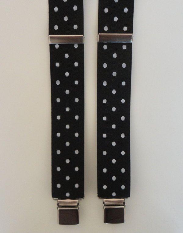 BRETELLA NERA MAXI pois bianchi. Particolari in vera pelle di colore nero, largh. cm 3,5 modello a Y (due clips davanti e una dietro) di SuspendersTime su Etsy