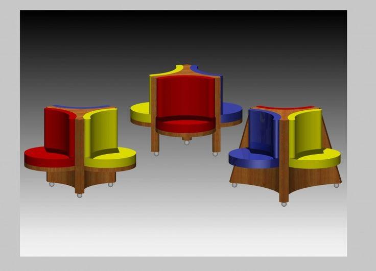Trio di sedute imbottite collegate da una struttura di legno massello centrale. Il colore dei cuscini, può essere monocromatico o policromatico. Il tessuto preferibilmente in vellutto liscio, per conferire morbidezza ed eleganza. La struttura portante può prolungarsi fino al pavimento al di sotto della seduta oppure attestarsi al livello della stessa, come si evince dalla rappresentazione