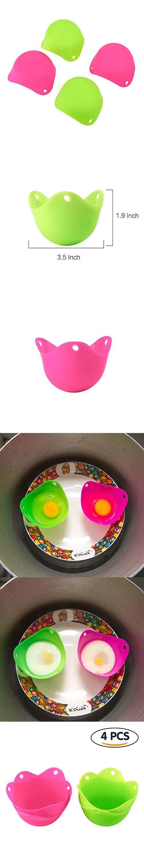 Tenn Well Silicone Egg Poachers, Reusable Silicone Egg Cups for Cooking Poached Eggs, Jellies, Desserts, Baking (Set of 4)