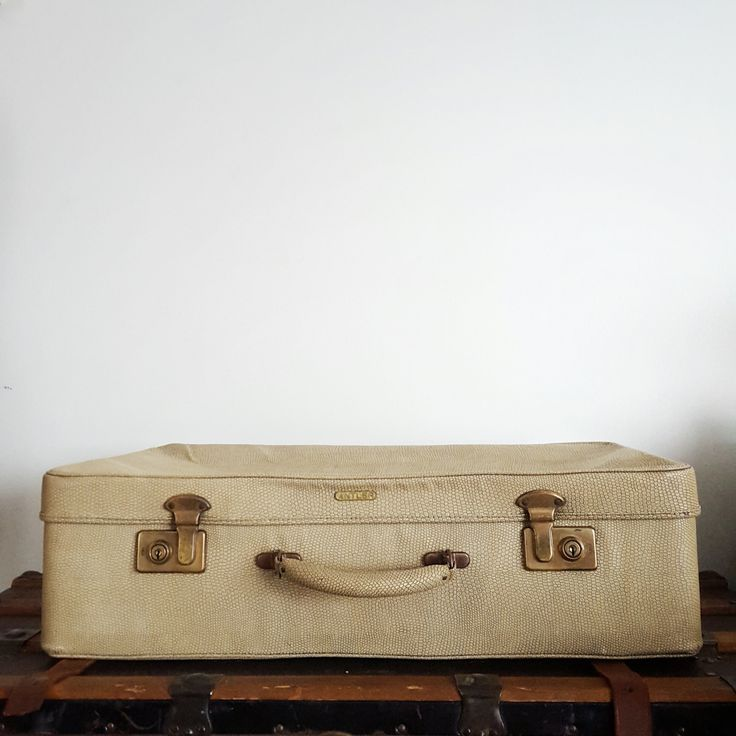 Vintage ANTLER suitcase - ivory faux lizard skin luggage with blue interior - Photo prop - Vintage wedding card box by RetroReUp on Etsy